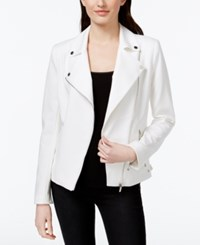 Calvin Klein Asymmetrical Zip Moto Jacket Soft White