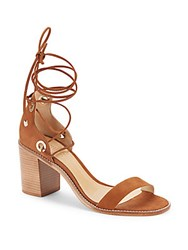 Schutz Zion Lace Up Leather Sandals Saddle