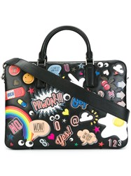 Anya Hindmarch Multiple Patches Briefcase Black