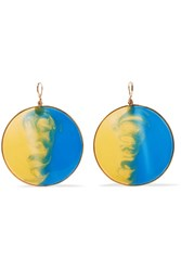 Missoni Gold Tone Enamel Earrings Blue