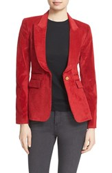 Smythe Women's Leather Trim Corduroy Blazer