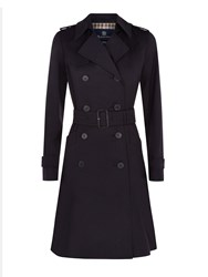 Aquascutum London Lana Double Breasted Raincoat Navy