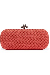 Bottega Veneta The Knot Intrecciato Grosgrain Clutch Red