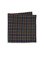 Hook Albert Small Check Cotton Pocket Square Black