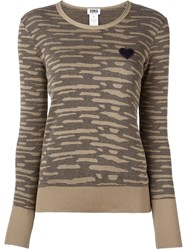 Sonia By Sonia Rykiel Animal Print Effect Heart Patch Jumper Nude And Neutrals