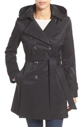 Women's Halogen Detachable Hood Trench Coat Black