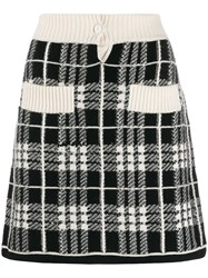 Barrie Checked A Line Skirt Black