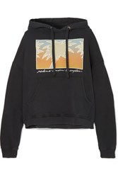 Re Done Oversized Printed Cotton Jersey Hooded Sweatshirt Black Gbp
