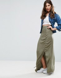 Asos Maxi Skirt In Twill With Channel Detail Green