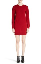 Burberry Women's Alewater Elbow Patch Merino Wool Dress Parade Red