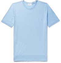 Brioni Slim Fit Logo Embroidered Knitted Cotton T Shirt Light Blue