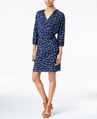 Maison Jules Printed Faux Wrap Dress Only At Macy's Blu Notte Combo