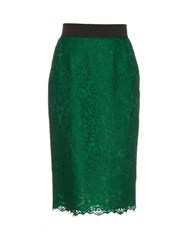 Dolce And Gabbana Cordonetto Lace Pencil Skirt Green