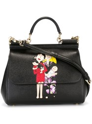 Dolce And Gabbana Family Patch 'Sicily' Tote Black