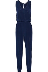 Chelsea Flower Grommet Embellished Silk Jumpsuit Blue