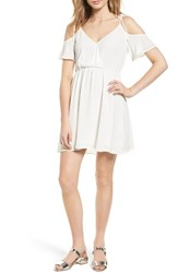Lush Women's Surplice Cold Shoulder Dress Ivory
