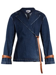 Loewe Peak Lapel Leather Tie Denim Jacket Indigo