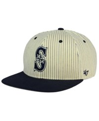 '47 Brand Seattle Mariners Woodside Captain Snapback Cap White Navy