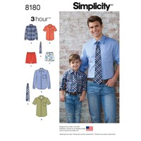 Simplicity Men's And Children's Shirt And Tie Sewing Pattern 8180
