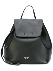 N 21 No21 Flap Backpack Women Cotton Calf Leather One Size Black