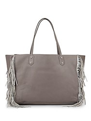 Sam Edelman Payton Leather Fringe Tote Grey Frost