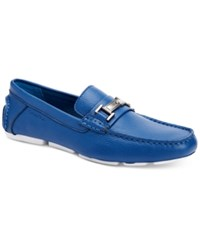 Calvin Klein Men's Magnus Tumbled Leather Driver Loafers With Bit Men's Shoes Blue