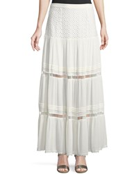 Lost Wander Addison Embroidered Maxi Skirt White