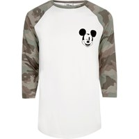 River Island Mens White Mickey Mouse Camo Raglan T Shirt