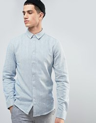 Solid Shirt In Stripe And Regular Fit Blue