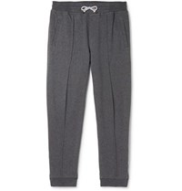 Brunello Cucinelli Tapered Cotton Blend Jersey Sweatpants Gray
