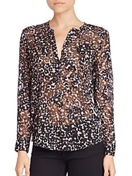 Rebecca Taylor Long Sleeve Sheer Silk Blouse Black Combo