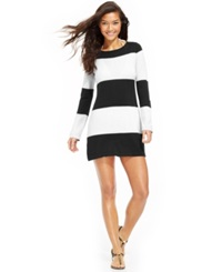 Tommy Bahama Long Sleeve Striped Cover Up Women's Swimsuit Black White