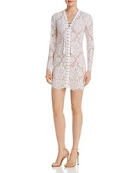 Guess Dakota Lace Up Lace Dress Brilliant White