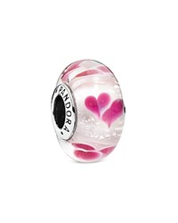 Pandora Design Pandora Charm Sterling Silver And Murano Glass Wild Hearts Charm Moments Collection Pink