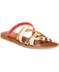 Xoxo Staci Strappy Flat Sandals Women's Shoes Gold