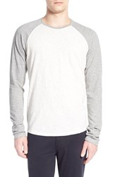 Vince Men's Raglan Sleeve Baseball T Shirt Heather White Heather Steel