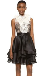 Marchesa Satin Faced Ruffle Cocktail Dress White Black