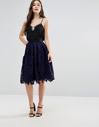 Closet London Lace Over Midi Skirt Navy Blue
