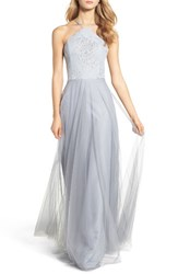 Hayley Paige Occasions Women's Metallic Embellished Gown Pewter