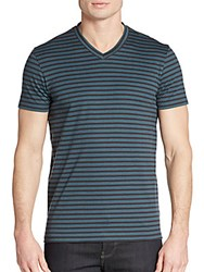 Saks Fifth Avenue Pima Interlock Stripe Tee Charcoal