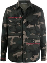 Valentino Camouflage Print Embroidered Shirt Jacket 60