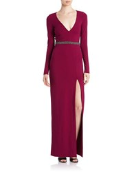 Nicole Miller Embellished Long Sleeve Gown Berry