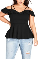 City Chic Plus Size London Lover Top Black