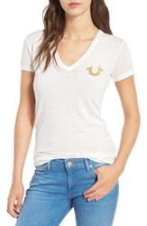 True Religion Women's Vintage Buddha V Neck Tee White