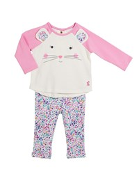 Joules Amalie Mouse Long Sleeve Top W Floral Pants Size 3 24 Months Pink