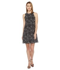 Calvin Klein Polka Dot Trapiz Dress Black White Women's Dress