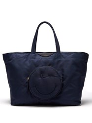 Anya Hindmarch Chubby Wink Nylon Tote Bag Navy