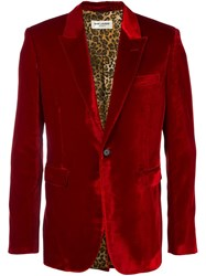 Saint Laurent Velvet Smoking Jacket Red