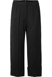 Burberry Cropped Wool And Silk Blend Wide Leg Pants Black