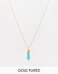 Mirabelle Gold Plated Necklace Witrh Turquoise Agate Bead Goldturquoise
